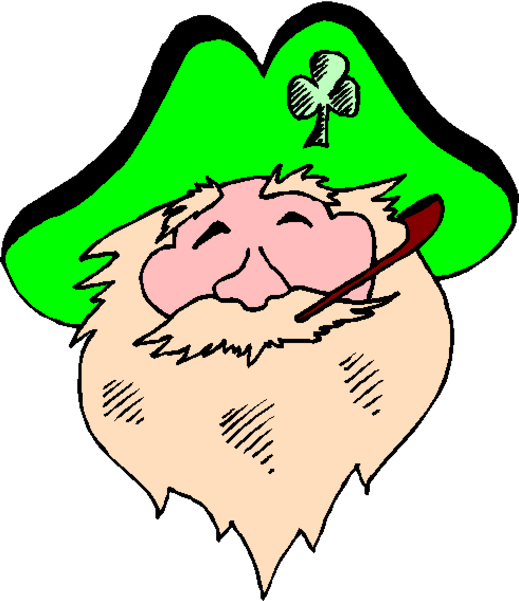Smiling Leprechaun with Pipe