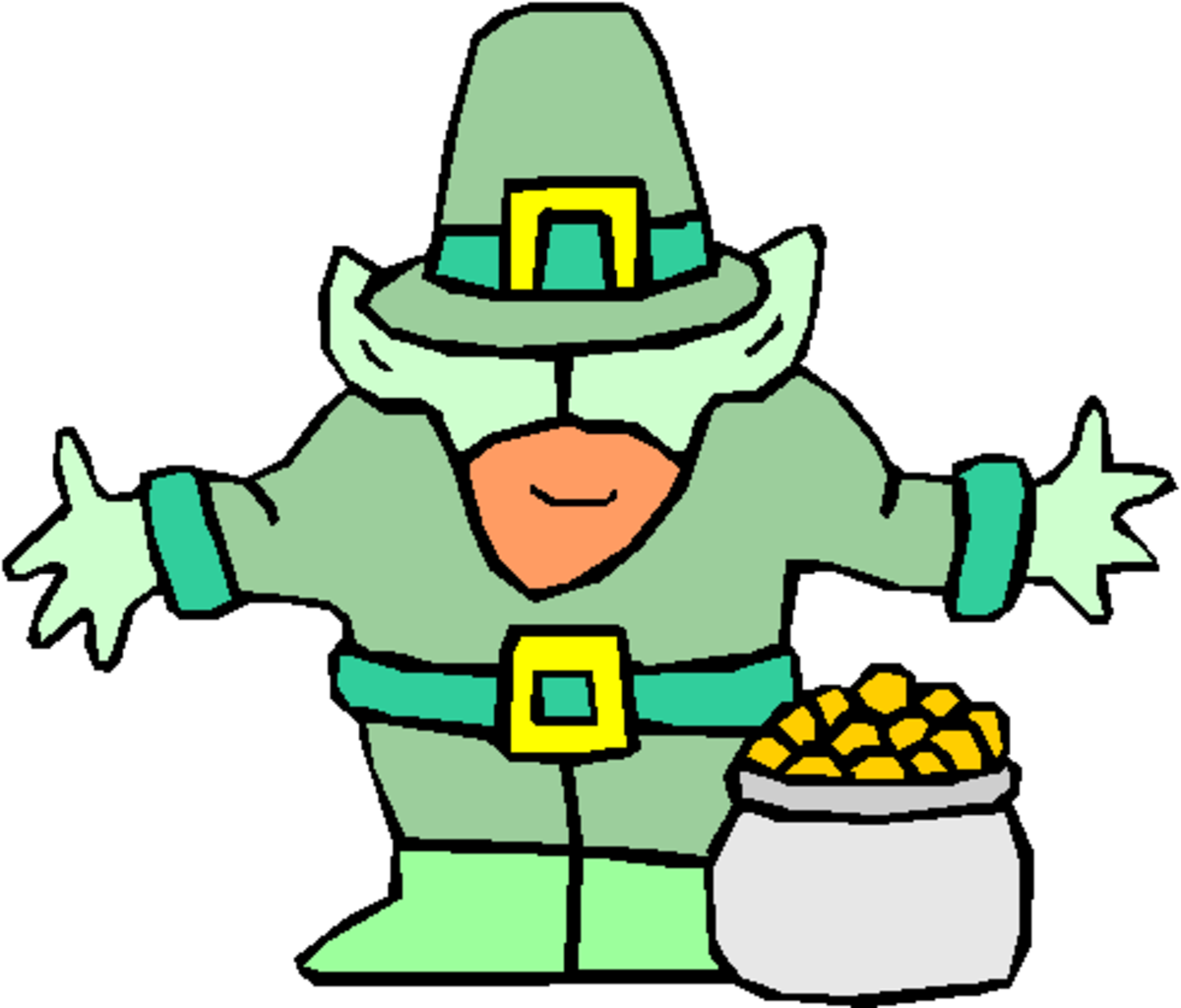 Leprechaun Standing with Pot of Gold