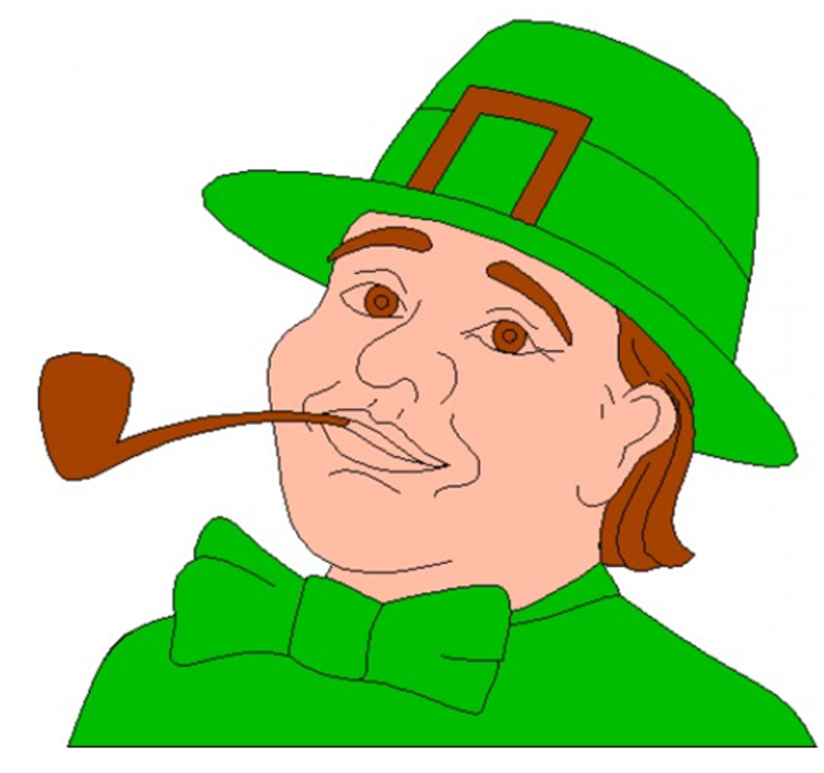 Leprechaun with Brown Hair Smoking a Pipe