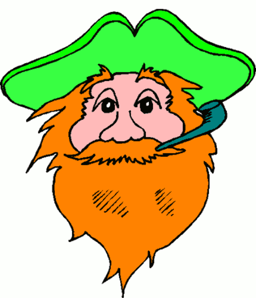 Red-Bearded Leprechaun Smoking a Pipe