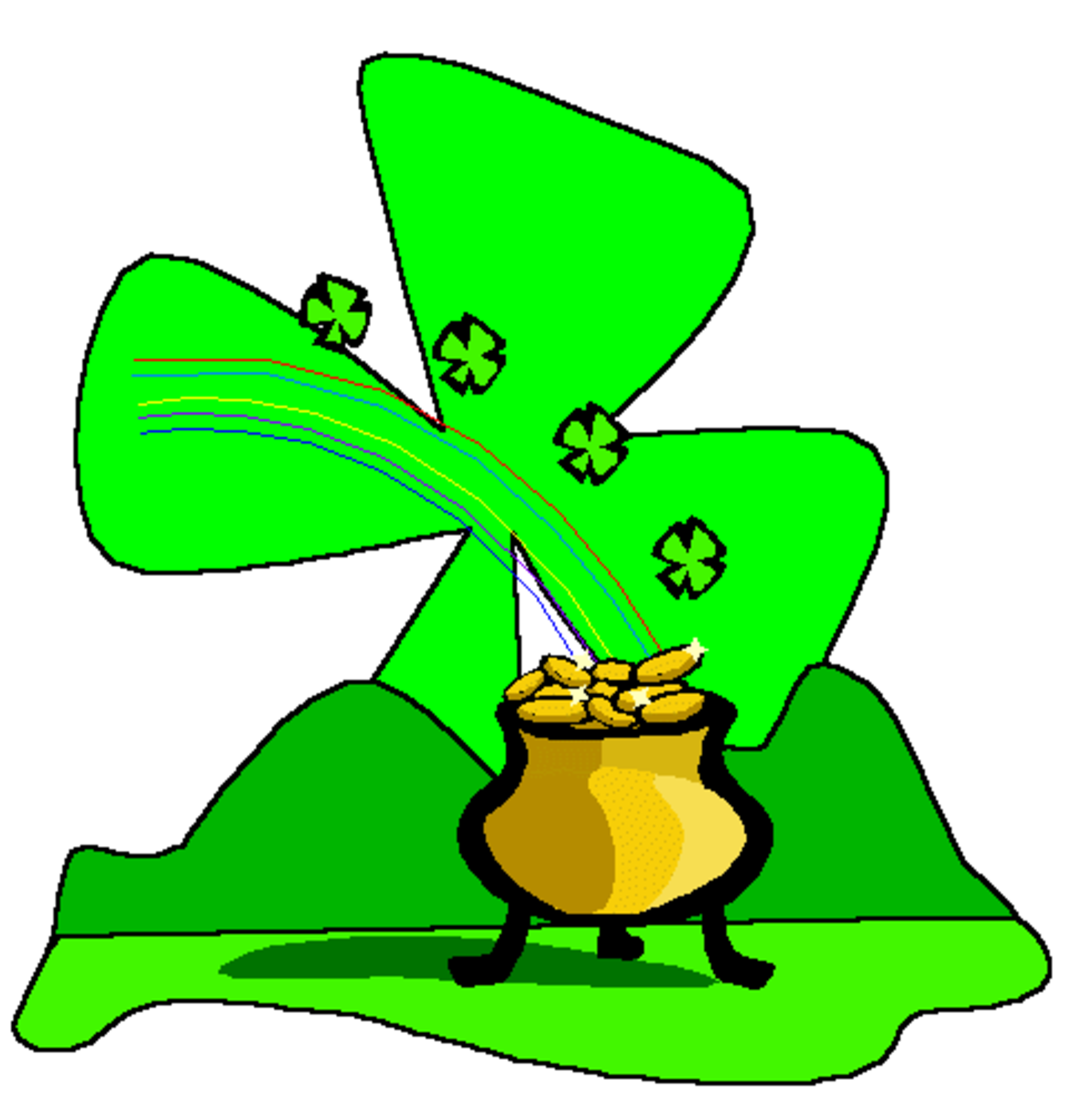 Pot of Gold with Big Shamrock