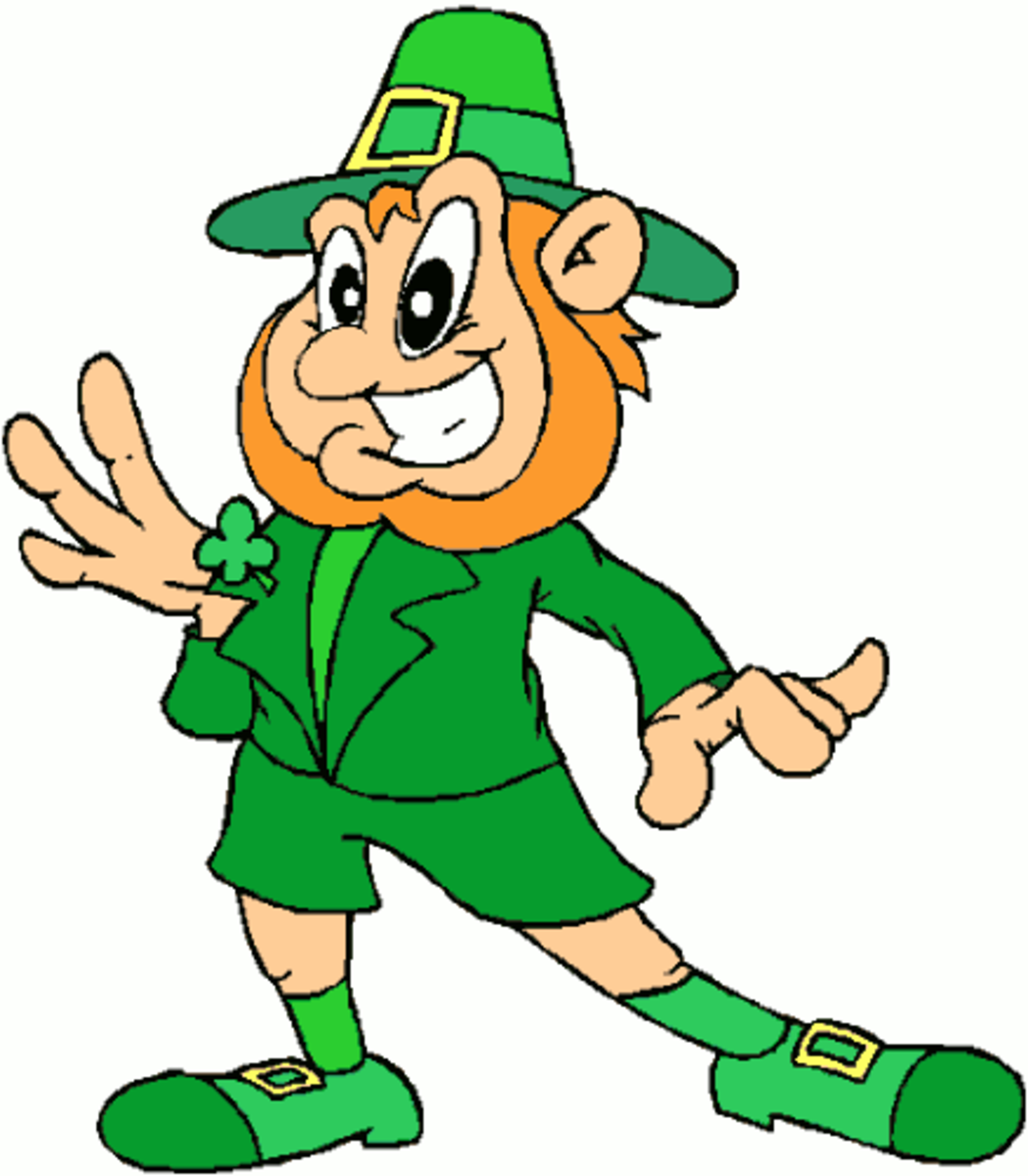 Leprechaun Showing Off His Shamrock Badge