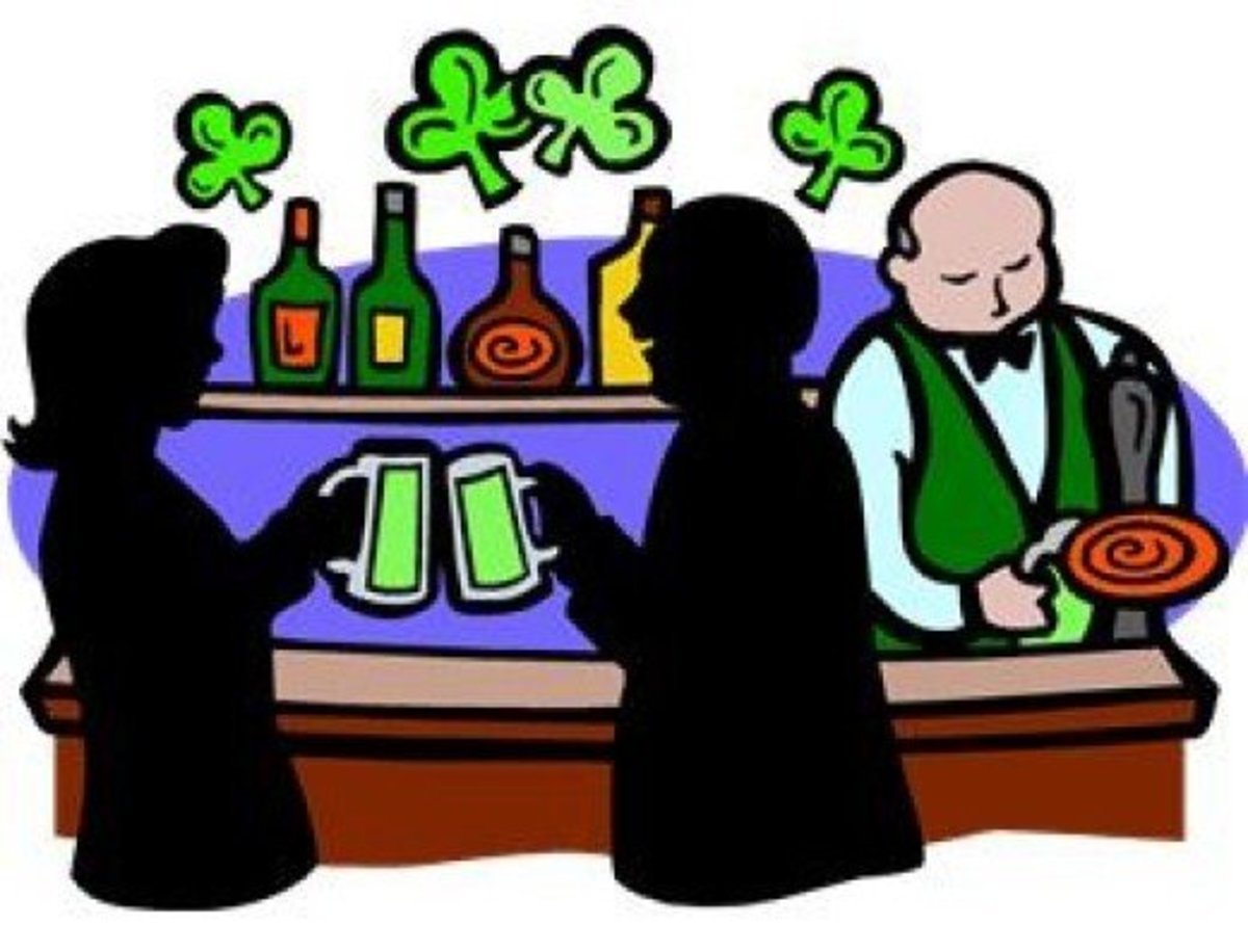 People Drinking Green Beer at a Bar