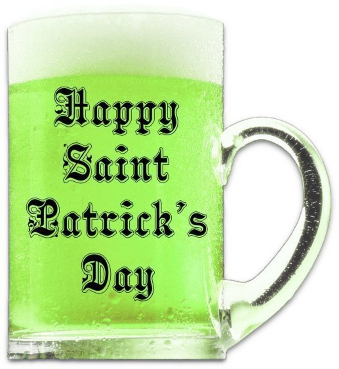 'Happy Saint Patrick's Day' on Mug of Green Beer