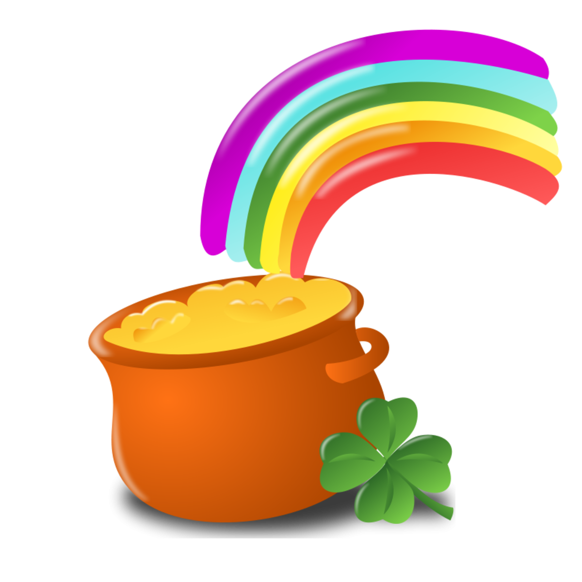 Shamrock, Pot of Gold and Rainbow