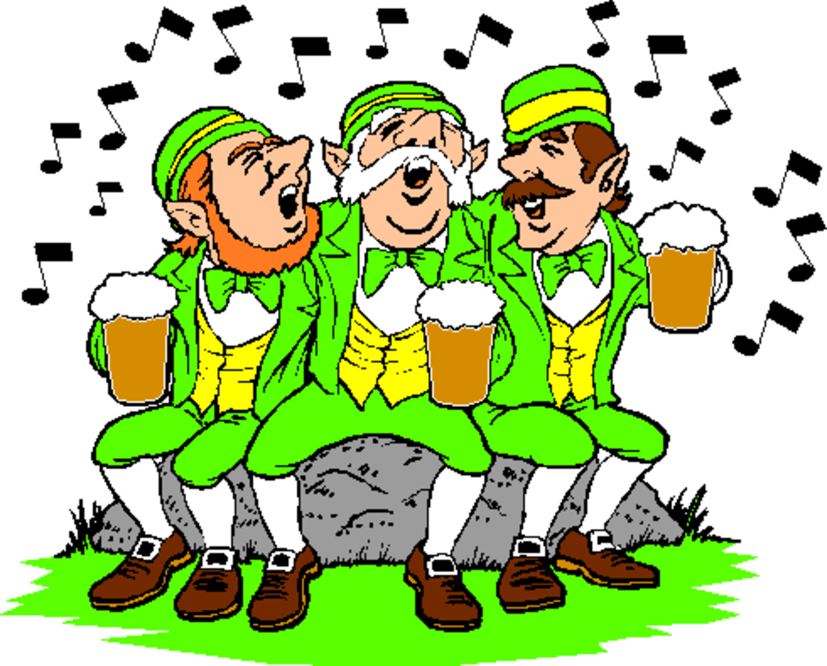 Three Singing Leprechauns with Beer Mugs