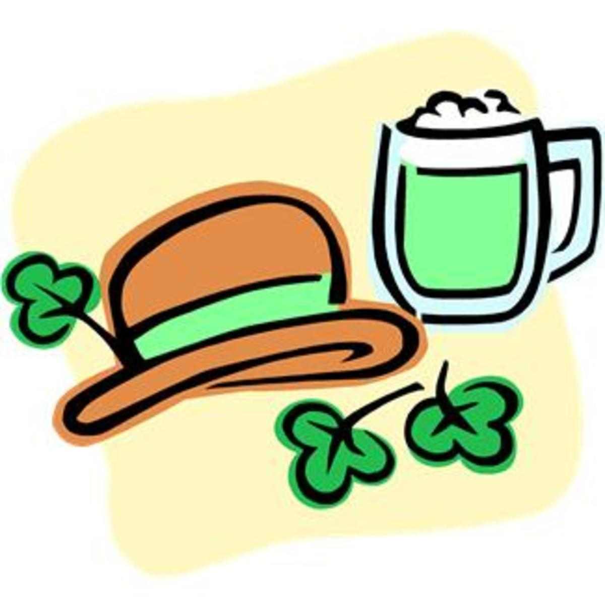 Green Beer, Leprechaun Hat and Shamrock Images