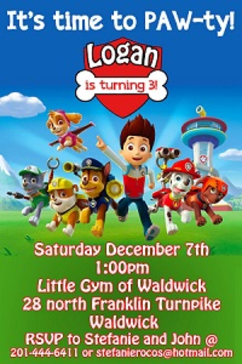 Personalized Paw Patrol invitations