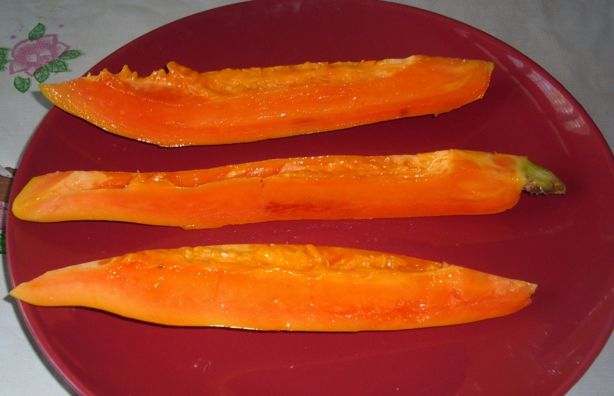 Cut papayas