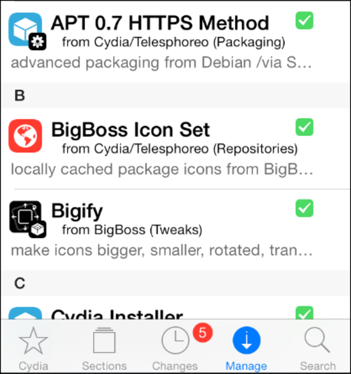 The Packages section in Cydia listing all jailbreak apps
