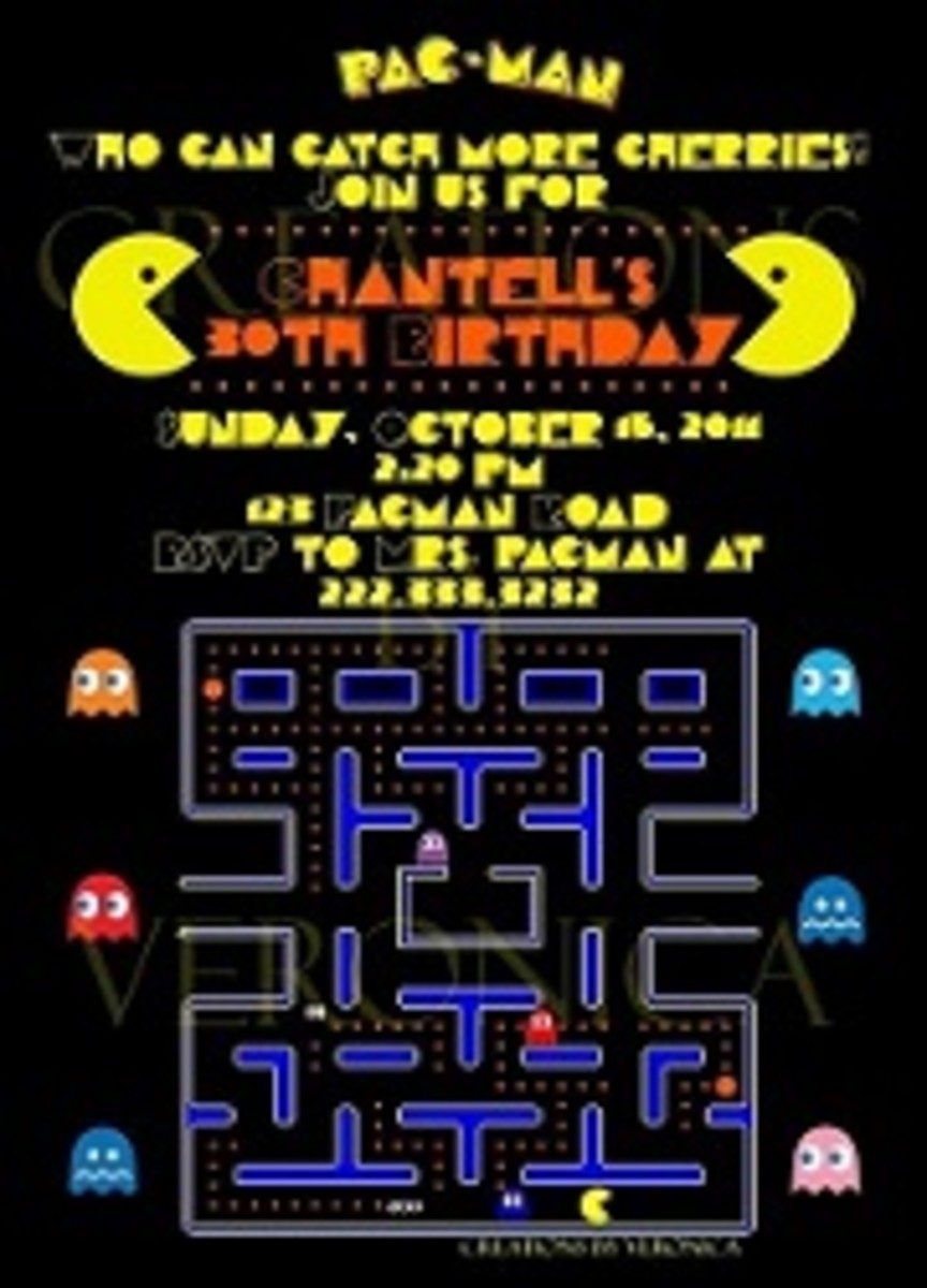 Personalized Pac-Man birthday invitations
