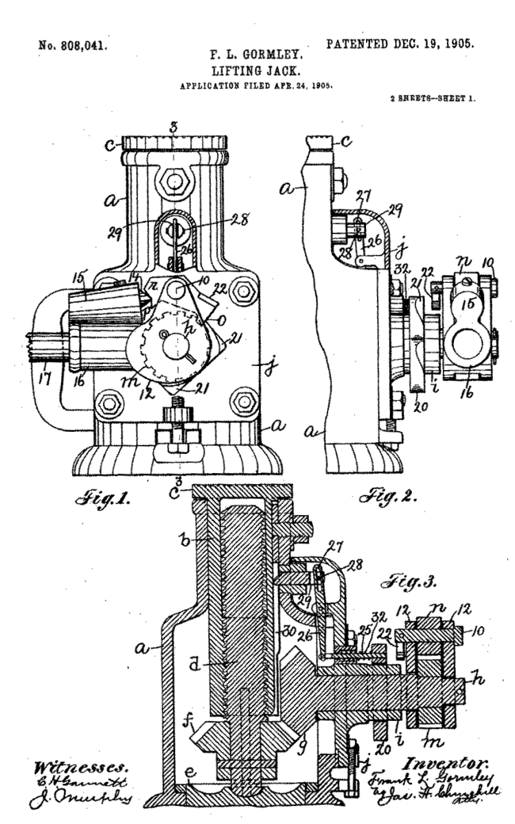 1905 Patented Lifting Jack Inventor: Frank L. Gormley Sr.