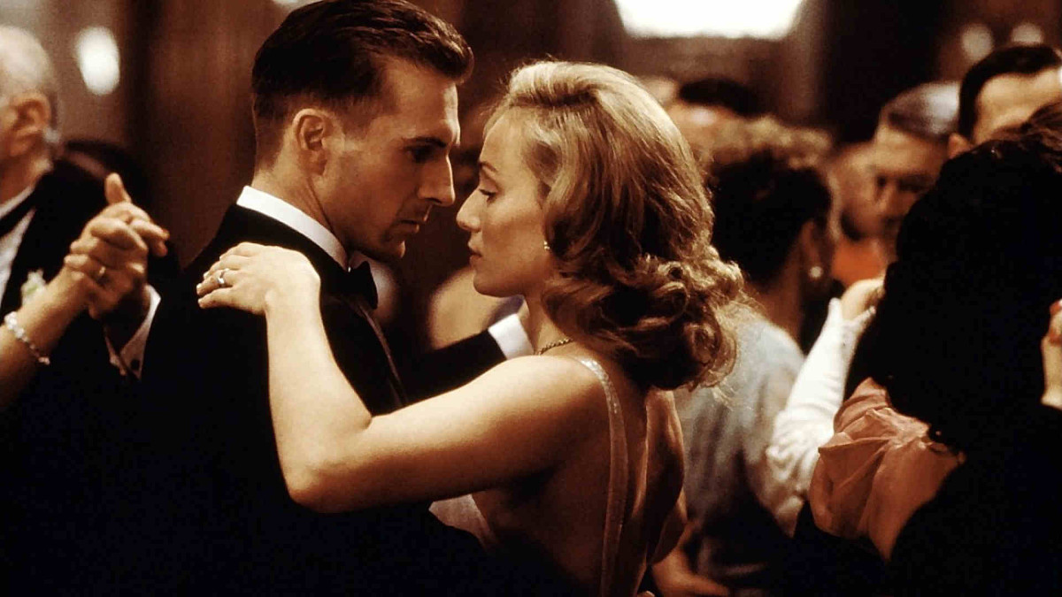 Still from the movie, The English Patient.  Ralph Fiennes dancing with Kristin Scott Thomas