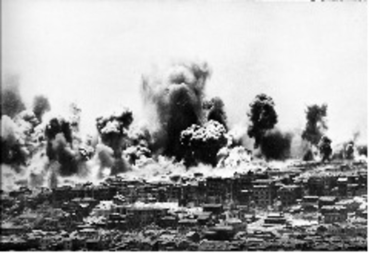 Chongqing, the temporary wartime capital of China was subjected to heavy bombing between 1938 and 1941, costing over 12,000 lives.