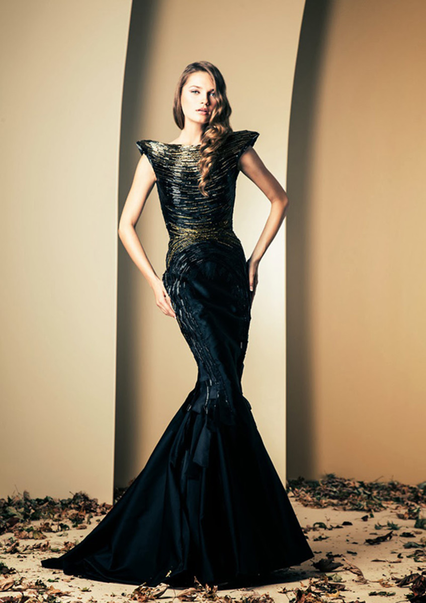 Stunning Darker than Midnight Blue Flared out figure hugging gown.