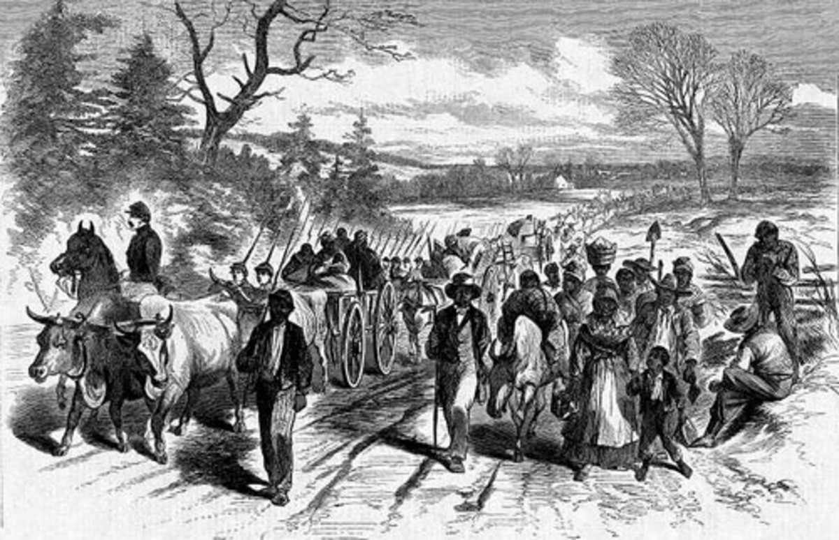 Sketch - escaped slaves follow alongside an infantry column