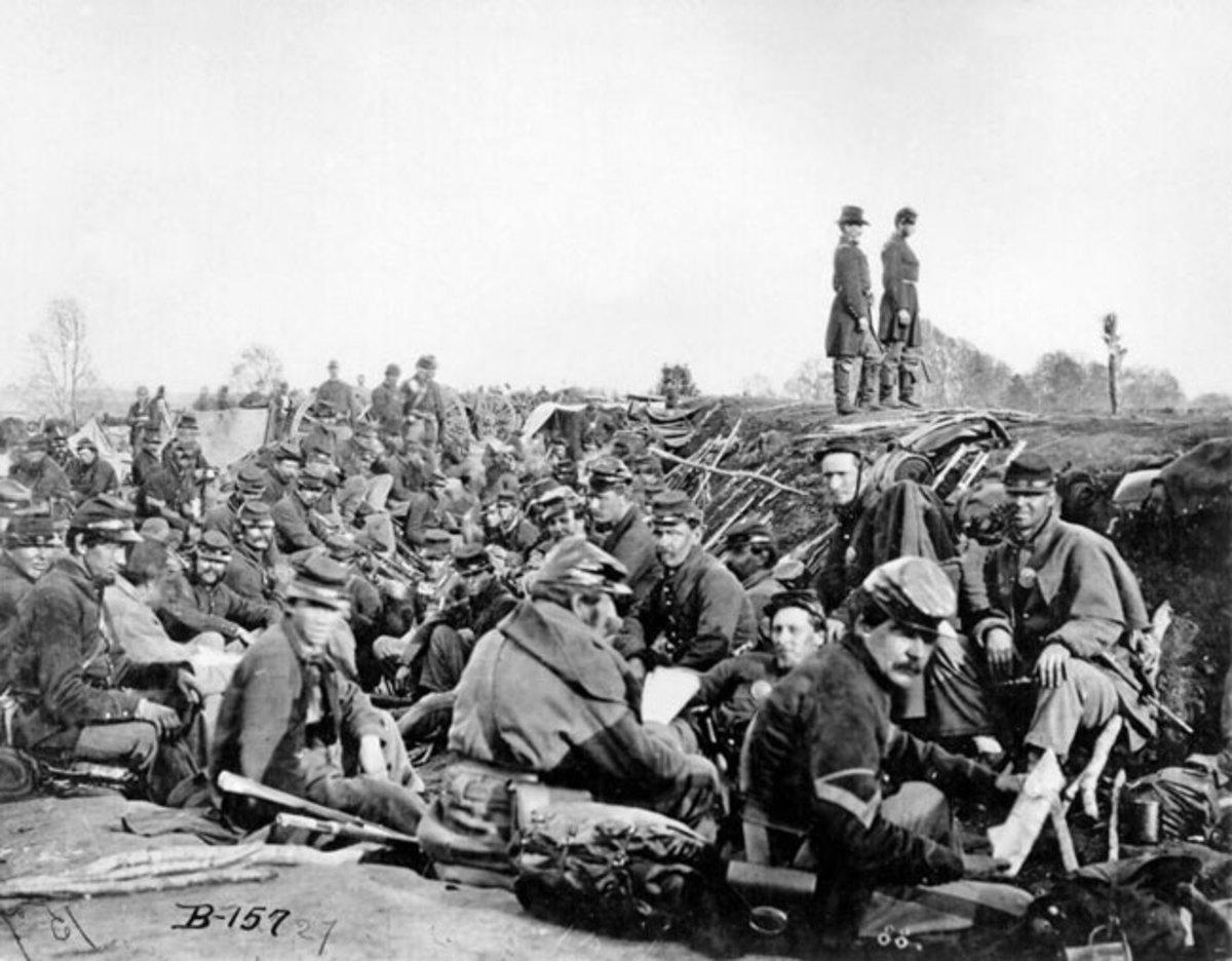 Troops on a rest break, near enemy lines
