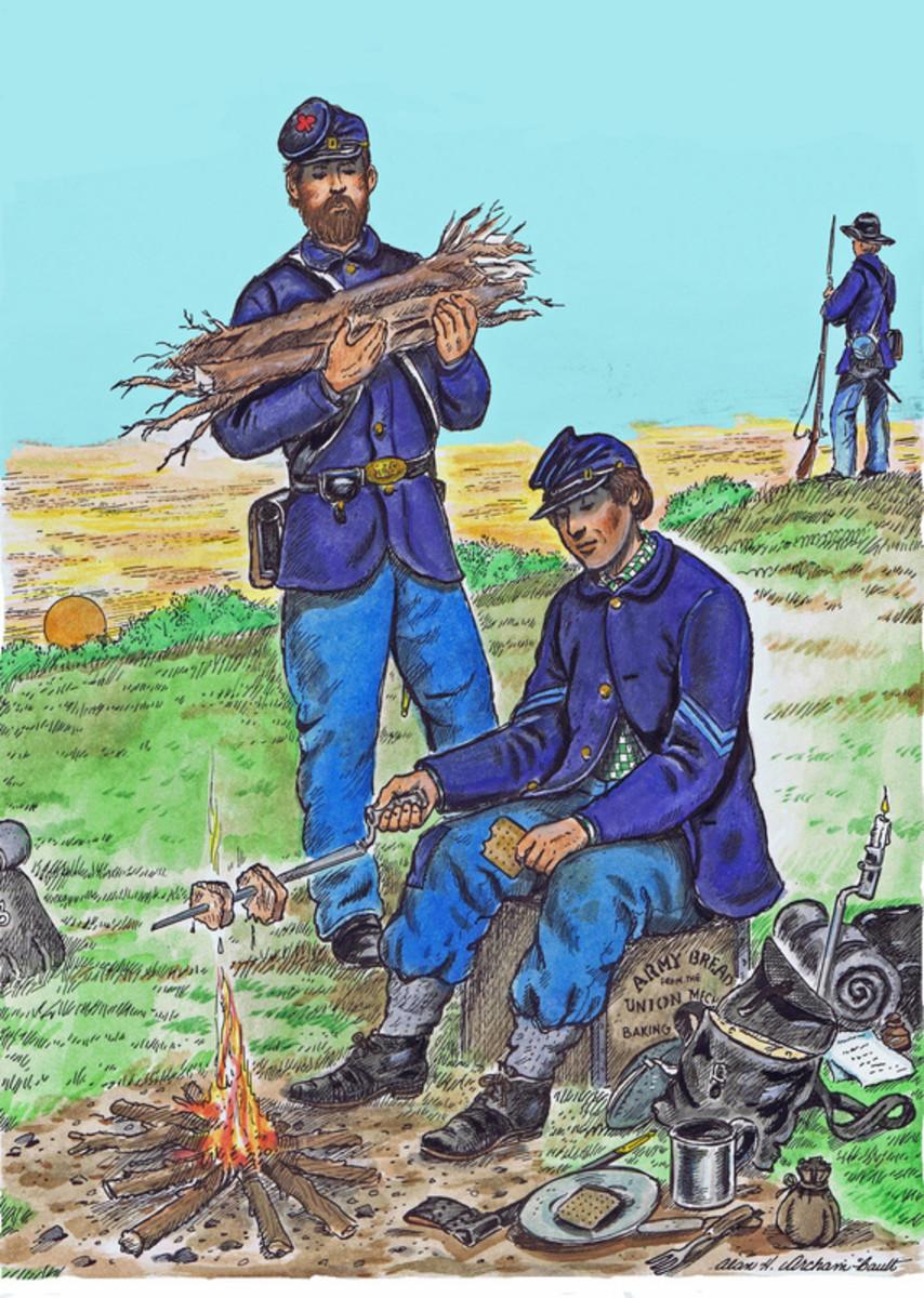 Painting - troops on a dinner break