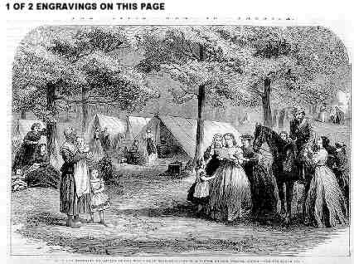 Sketch - refugee families set up a camp. Note the tents in the background, which indicate possible army or relief agency assistance