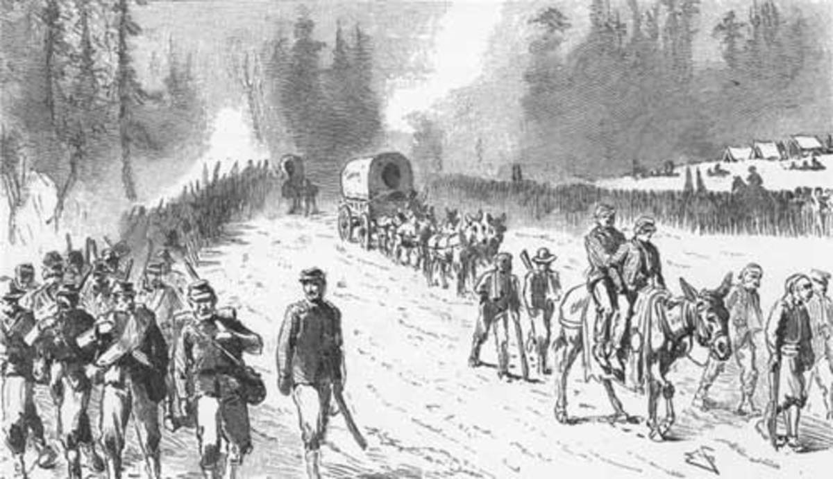 Sketch - troops make a nighttime march