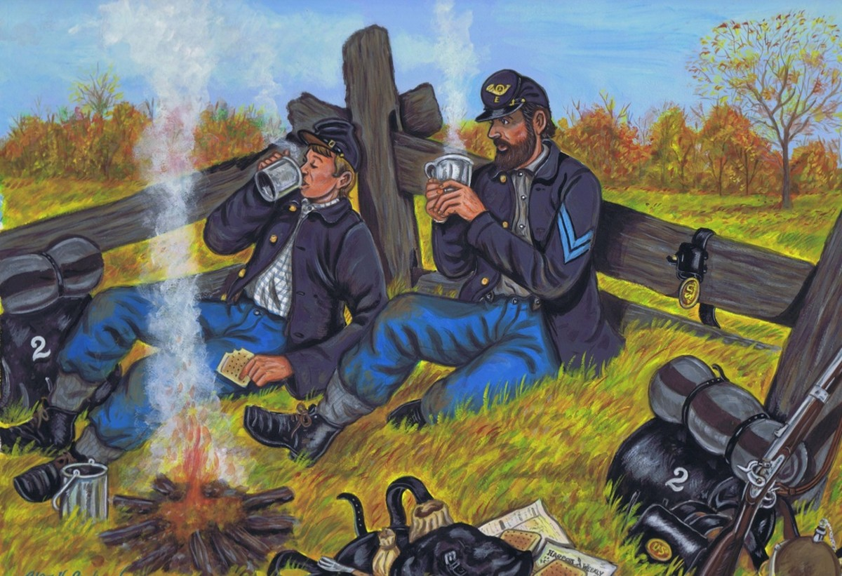 Painting - troops on a rest break and boil coffee