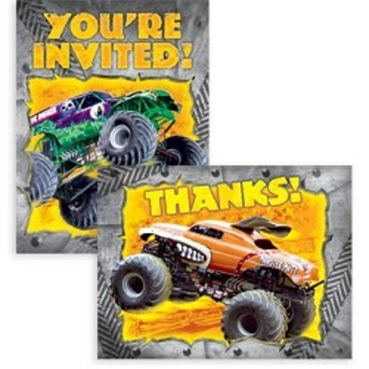 Grave digger monster truck invitations and thank you notes
