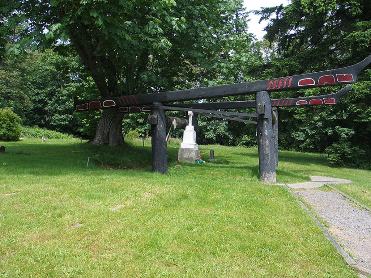 Grave site of Chief Seattle on the Port Madison Indian Reservation in Suquamish, Washington