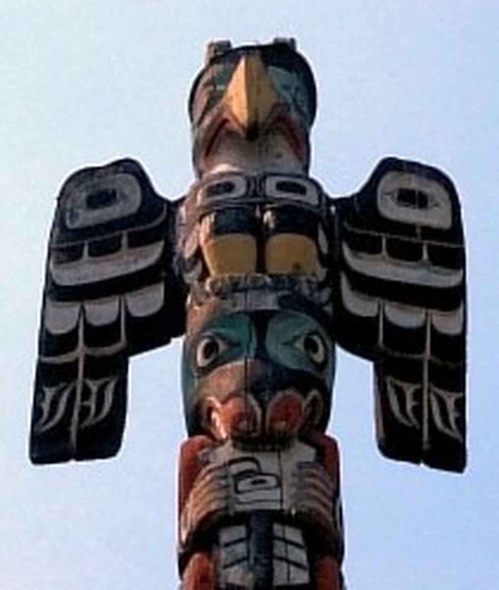 Thunderbird, top of totem pole in the Pacific Northwest