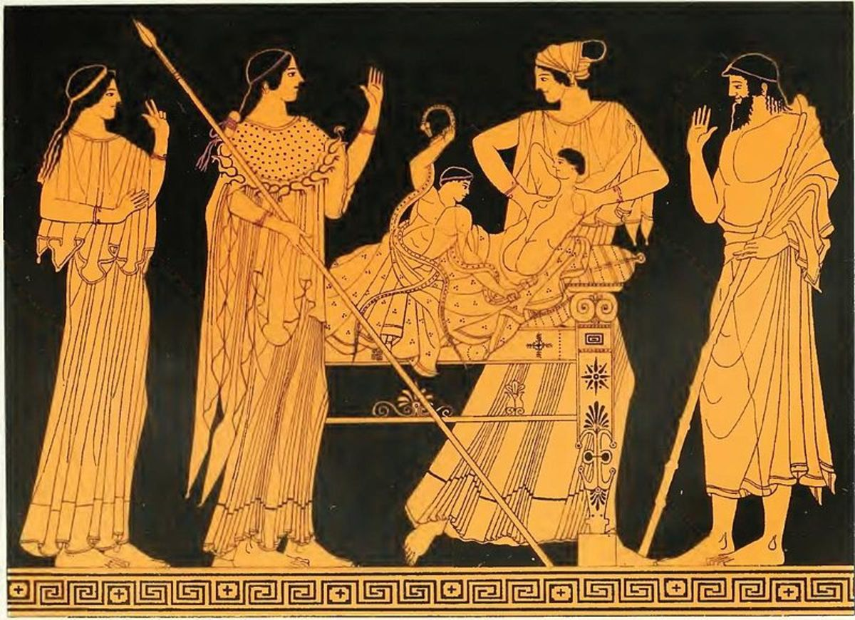 This red figure Greek vase shows Heracles strangling the snakes, while urged on by Athena standing beside him. Meanwhile, his terrified twin, Iphicles, reaches out for his nurse.