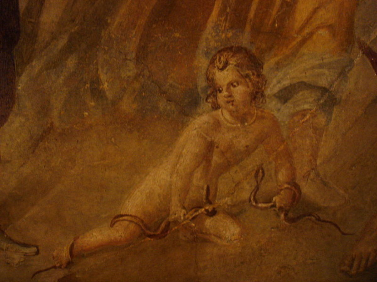 Pompeian fresco showing baby Heracles fighting the twin serpents.