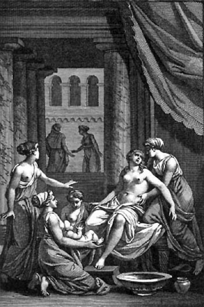 The Birth of Heracles as depicted by Jean Jacques Francois Le Barbier (1738-1826). Ilythia, Goddess of Childbirth stands on the left, unseen, monitoring the timing of the birth according to Hera's orders.
