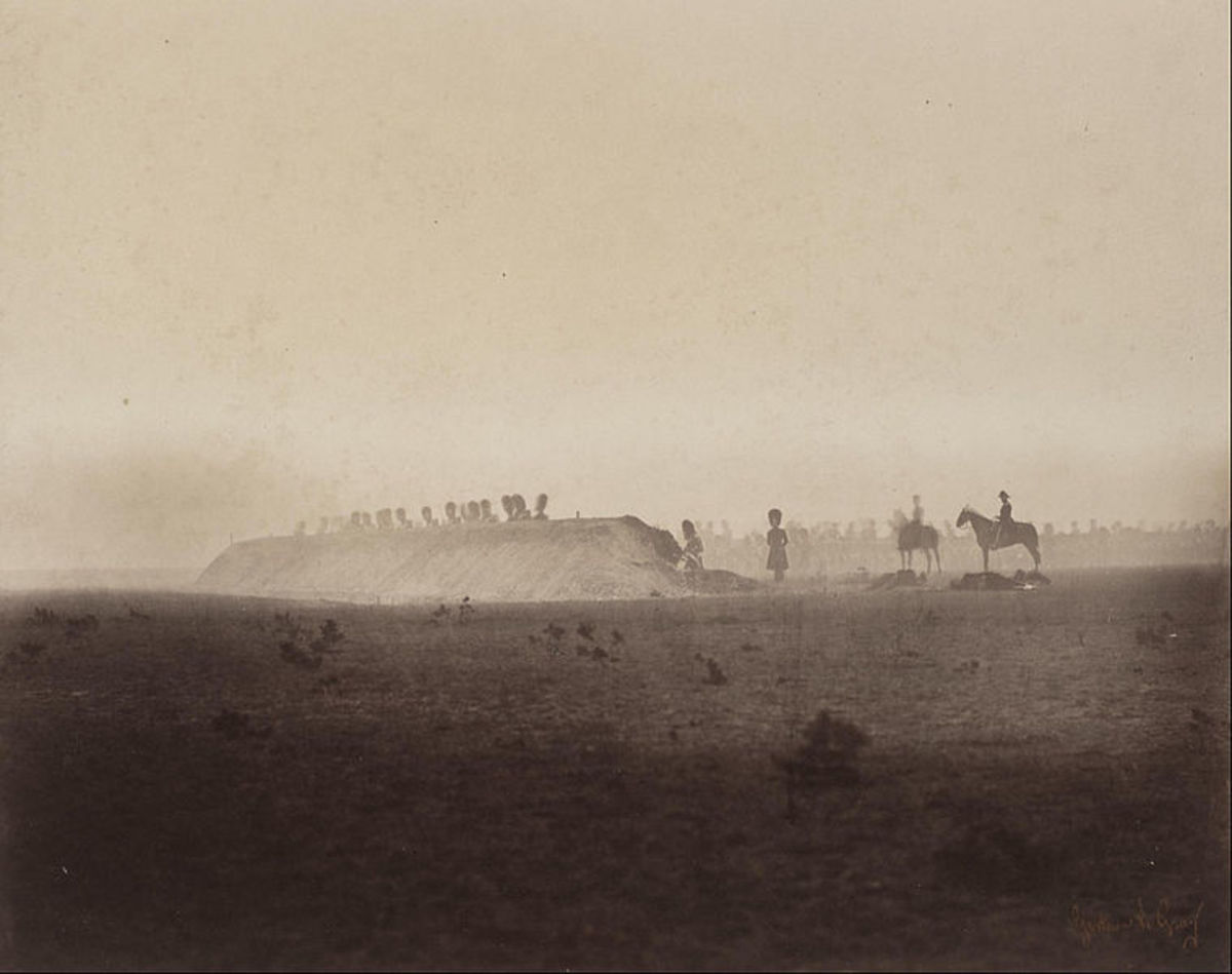 """Guards Behind Breastwork - Cavalry Maneuvers.""  This one is an example of an albumenized salted paper print.  By Gustave Le Gray in 1857"