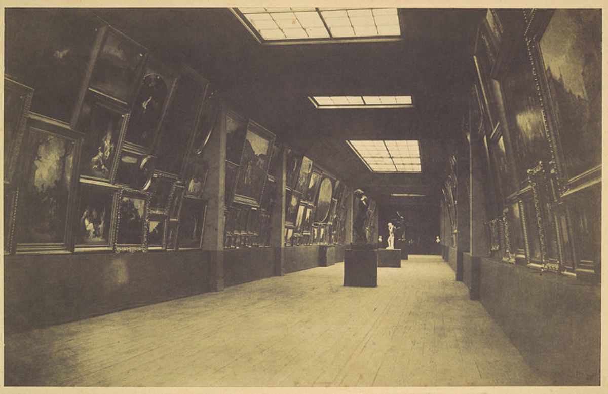 Gustave Le Gray, The Salon of 1852.  Gustave Courbet's Young Women from the Village (40.175) is visible in Le Gray's view of the Salon of 1852.  Salted paper print from waxed-paper negative.