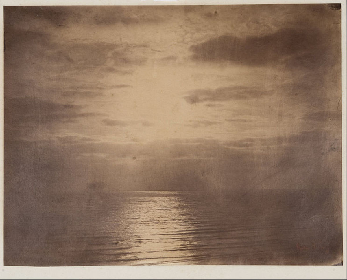 Solar Effect in the Clouds--Ocean.  Albumen Print. Gustave Le Gray.