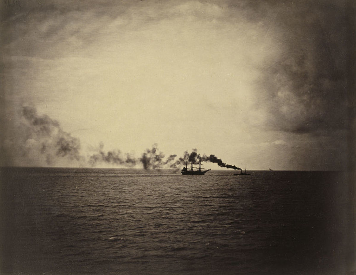 Gustave Le Gray - Steamboat - 1857 - An albumen print from a collodion glass negative.  Photo was purchased in 1985.