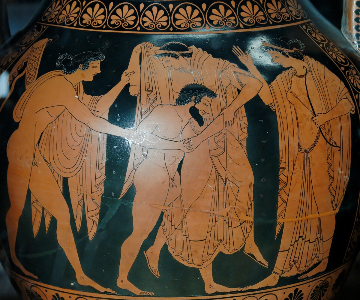 Apollo and Artemis rescue Leto from Tityos