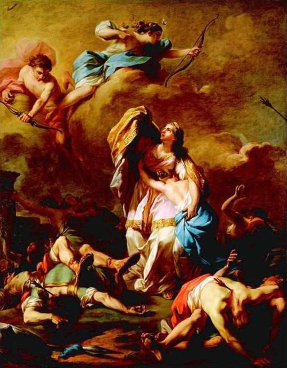 Apollo and Artemis killing the sons and daughters of Niobe