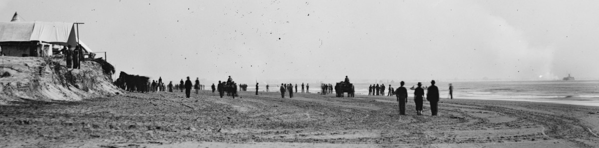 With Union troops on the beach as spectators, the ironclad New Ironsides (far right) fires on enemy defenses in Charleston Harbor in SC