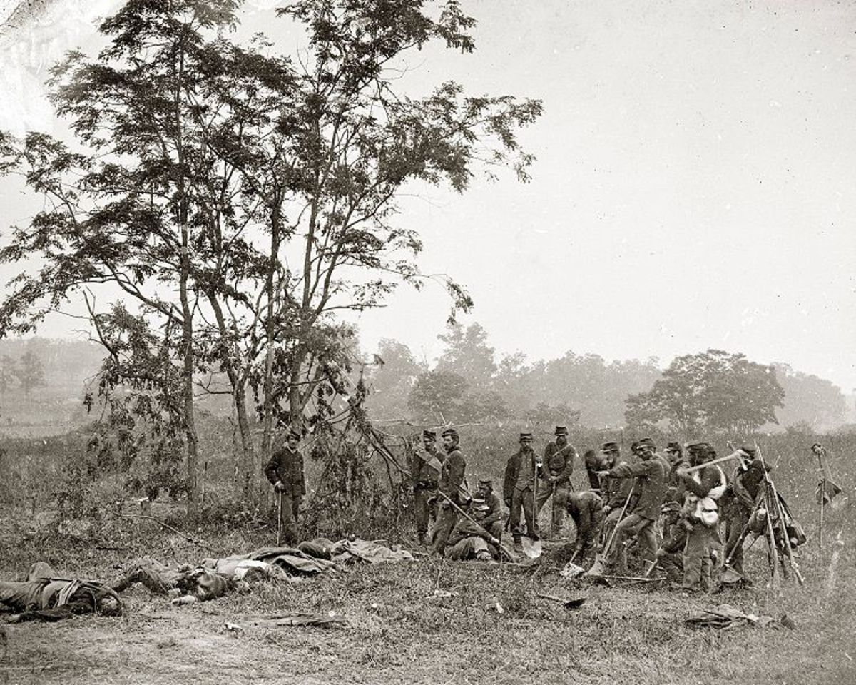 A burial detail at the Antietam battlefield poses for a photograph before it inters deceased comrades