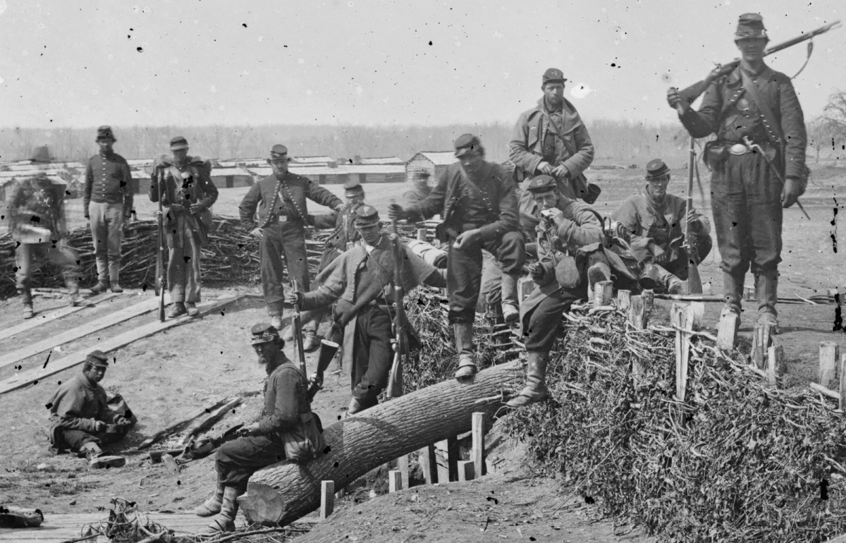Union Zouave troops relax within fortifications outside Centreville, VA