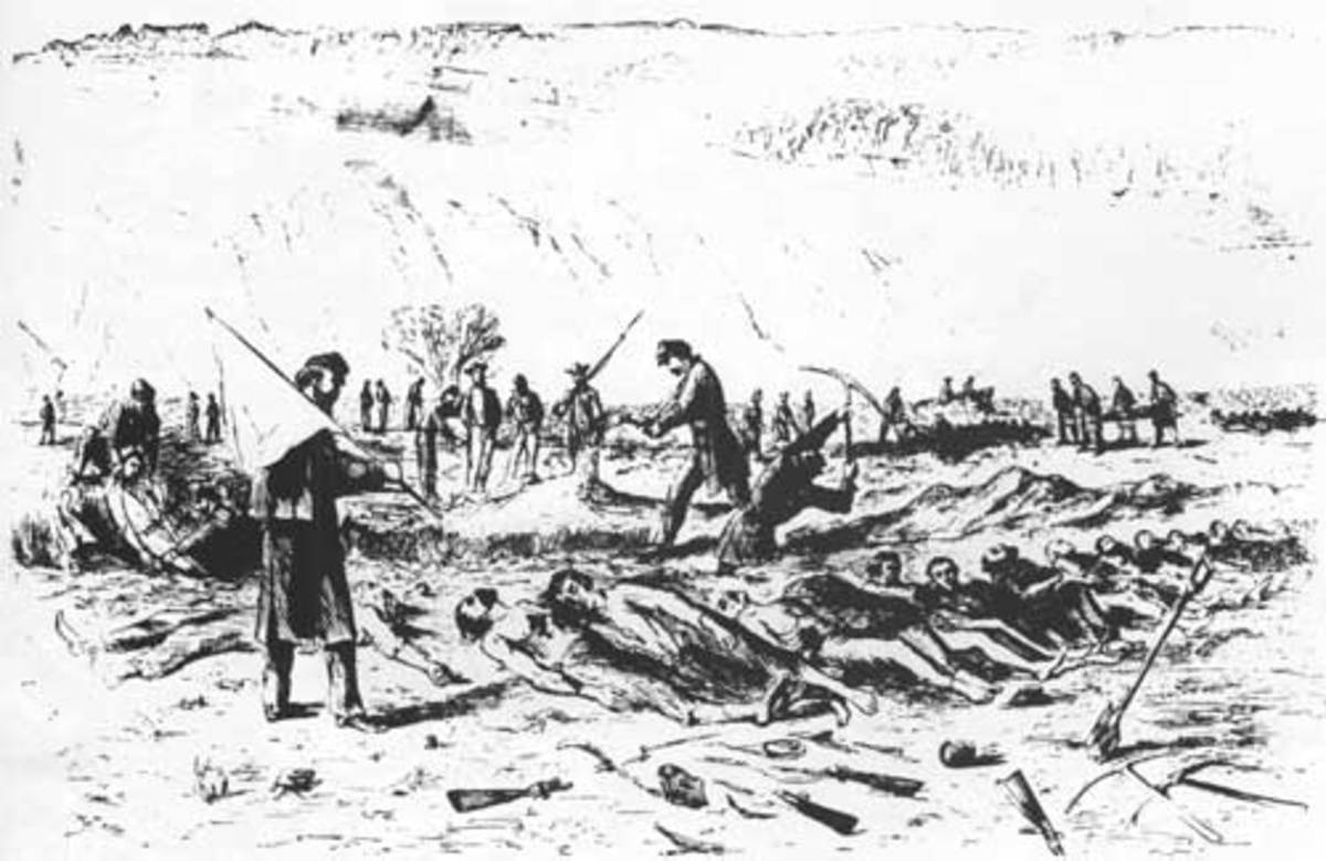 Sketch - Union troops dig a burial trench for their slain comrades under a flag of truce, with enemy artillery at watch on the hill. Note the scavenged condition of the corpses