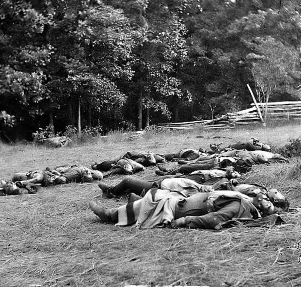 Enemy dead in a V burial formation at Gettysburg, PA