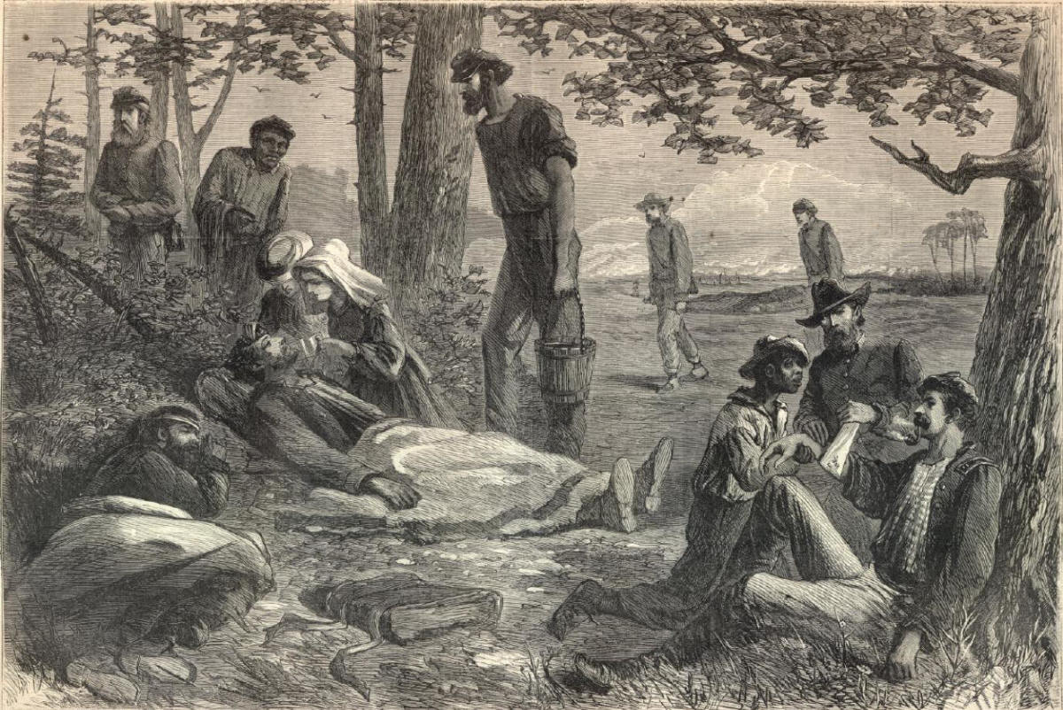 Sketch - Christian Commission volunteers tend to wounded troops