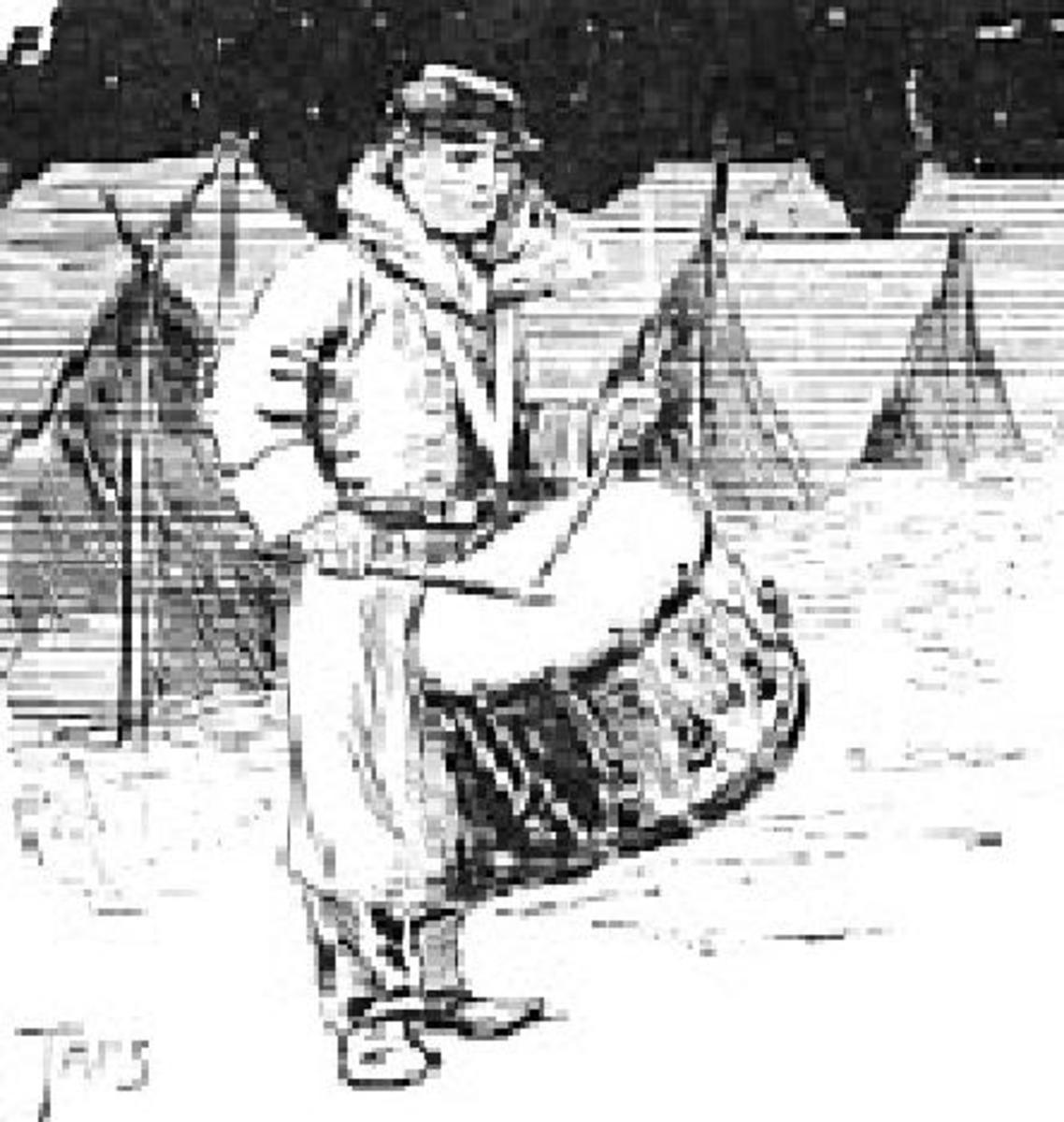Sketch: a Union drummer boy plies his trade