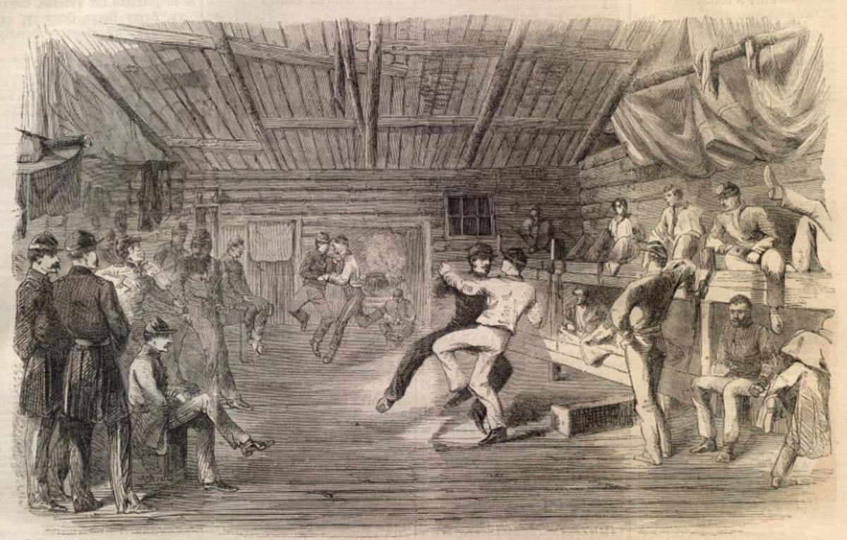 Sketch - A Christmas Stag Dance in a Union encampment