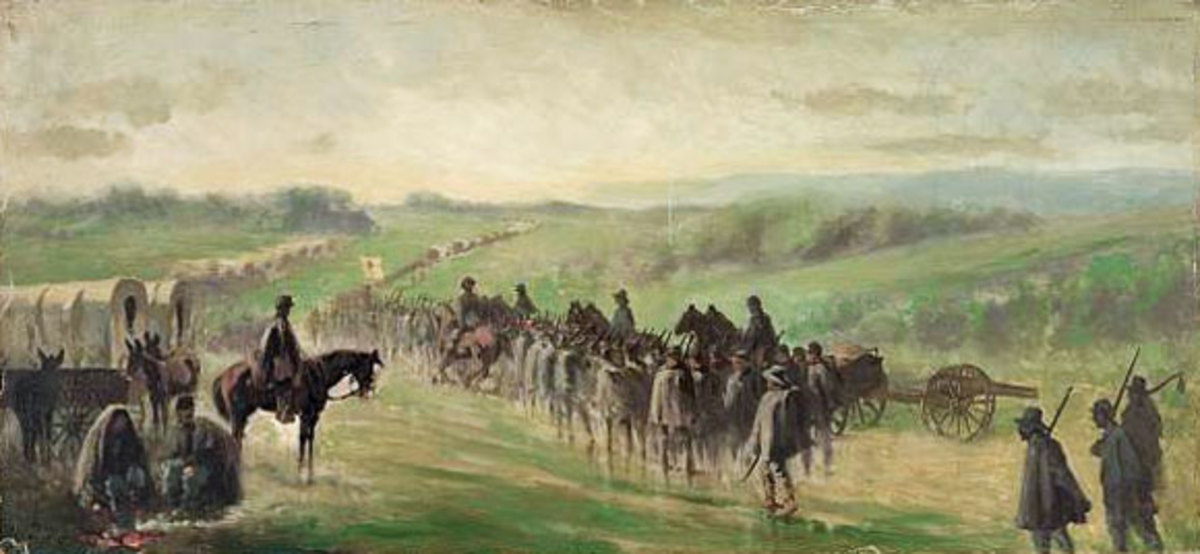 Painting - Union forces in pursuit of the retreating enemy after Gettysburg