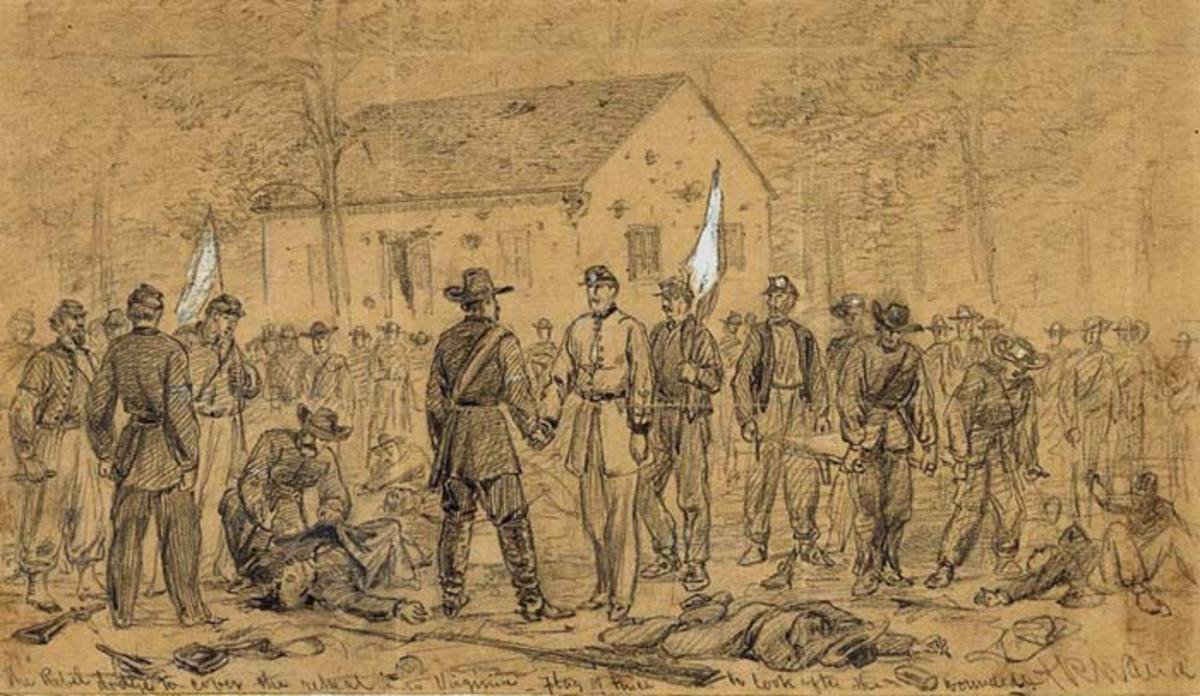 Sketch - a truce is declared at Antietam. Note the white flags that were used whenever one side wished to halt the combat and parley
