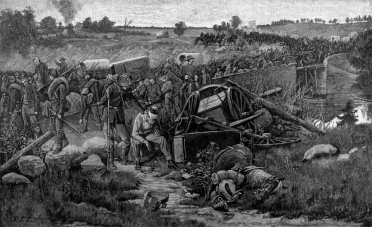 Painting - Union troops retreat over a stone bridge after the Second Battle of Bull Run