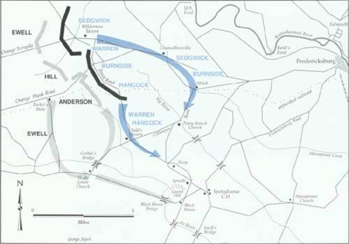 Map of a strategic movement after the stalemate of the Battle of the Wilderness; Union forces disengaged, abandoned the Wilderness battlefield, and attempted to reach a position to the southeast to threaten the enemy flank