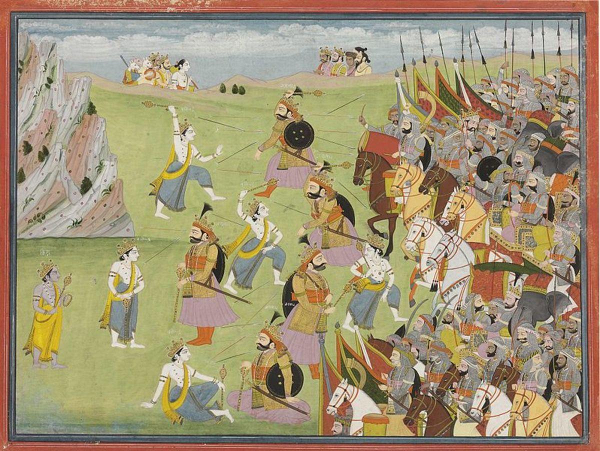 A painting from the Mahabharata Balabhadra fighting Jarasandha, 1810-20 AD
